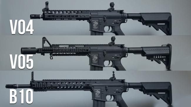 De verschillende Specna Arms replica's boven elkaar